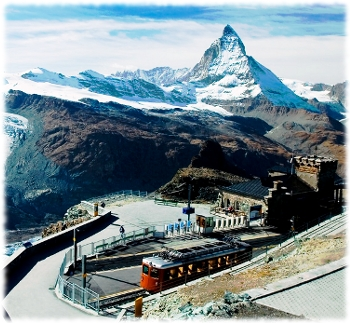 Picture of the Gornergrat train station with views of the Gornergrat Glacier and the Matterhorn.