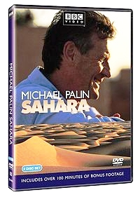 Picture of the DVD cover for the tv show Michael Palin Sahara that shows his face and the sands of the Sahara desert.