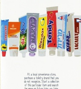 Page from the book I Was Here Travel Journal For The Curious Minded that shows tubes of toothpaste from around the world.