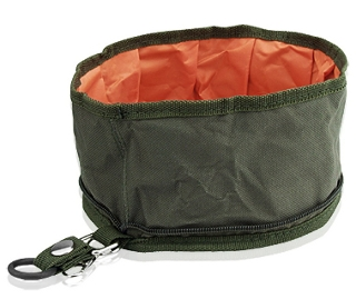 Picture of a collapsible water bowl to take along with dogs while traveling.