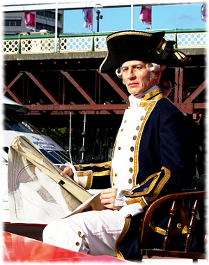 Picture of a wax figure of Captain James Cook in a tour boat in Sydney, Australia.