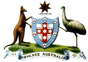 An old picture of the Australian coat of arms that has an emu and a kangaroo holding up a shield and the words Advance Australia under it.