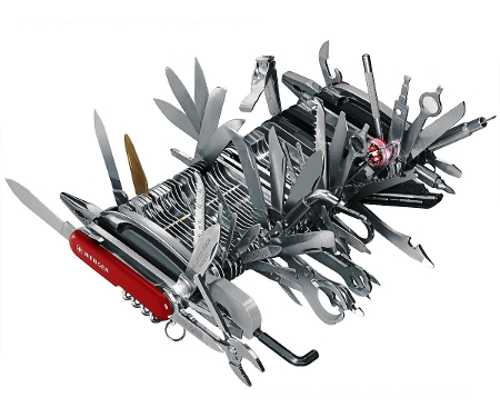 Picture of the Wenger 16999 Swiss Army Knife Giant with it's various tools out and displayed.