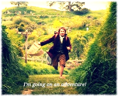 Picture of Bilbo Baggins from The Hobbit running with contract in hand and saying I'm going on an adventure!