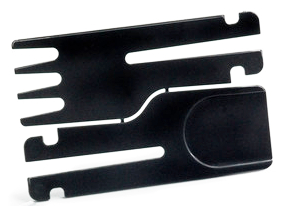 Closeup picture of black Credit Card Cutlery fork and spoon joined together.