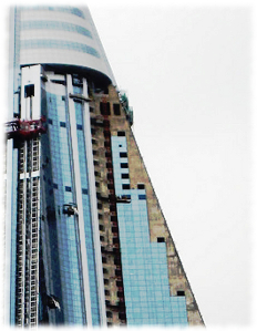 Closeup picture of windows being put in the Ryugyong Hotel in North Korea by an Egyptian telecom company that struck a deal with the government.