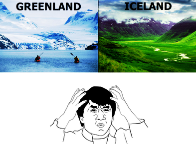 Picture of a Jackie Chan meme about Greenland and Iceland having names opposite to their climates.