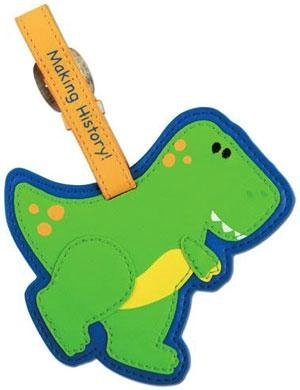 Dinosaur T-rex luggage tag that is green and blue.