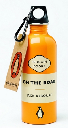 Picture of a travel water bottle done in the style of the book cover for On The Road by Jack Kerouac.